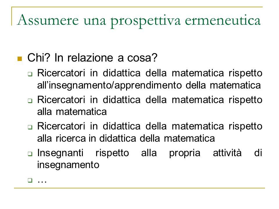 Assumere una prospettiva ermeneutica Chi? In relazione a cosa? Ricercatori in didattica della matematica rispetto allinsegnamento/apprendimento della