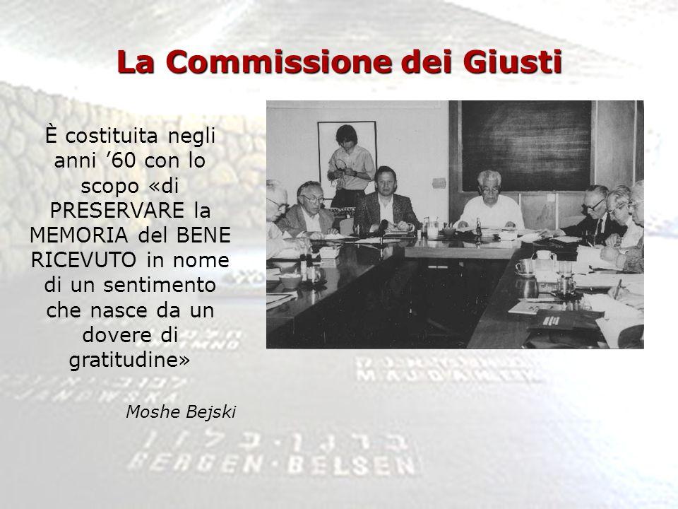 La Commissione dei Giusti È costituita negli anni 60 con lo scopo «di PRESERVARE la MEMORIA del BENE RICEVUTO in nome di un sentimento che nasce da un