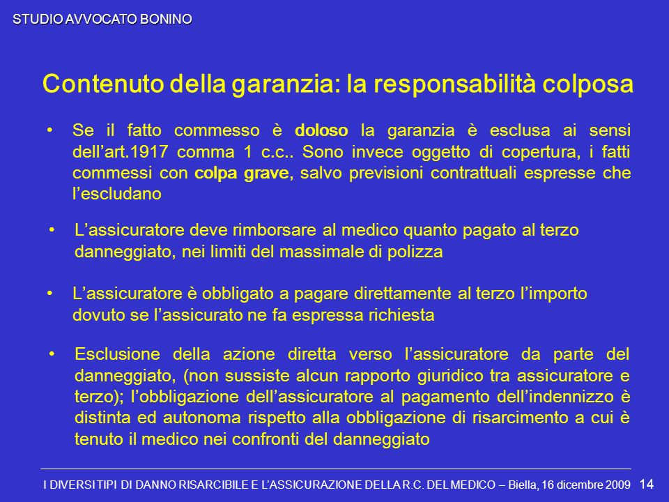 STUDIO AVVOCATO BONINO I DIVERSI TIPI DI DANNO RISARCIBILE E LASSICURAZIONE DELLA R.C.