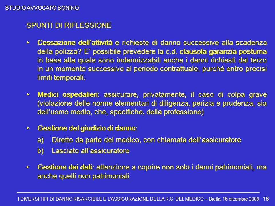STUDIO AVVOCATO BONINO I DIVERSI TIPI DI DANNO RISARCIBILE E LASSICURAZIONE DELLA R.C. DEL MEDICO – Biella, 16 dicembre 2009 18 Cessazione dellattivit