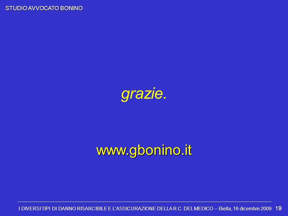 STUDIO AVVOCATO BONINO I DIVERSI TIPI DI DANNO RISARCIBILE E LASSICURAZIONE DELLA R.C. DEL MEDICO – Biella, 16 dicembre 2009 19 grazie. www.gbonino.it