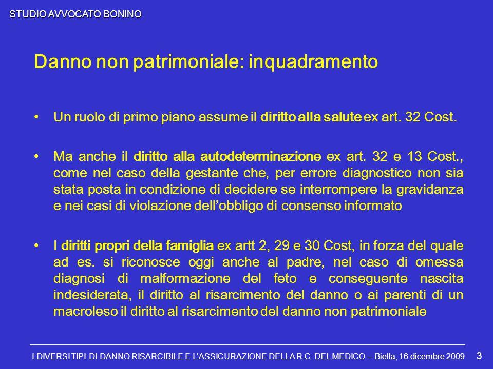 STUDIO AVVOCATO BONINO I DIVERSI TIPI DI DANNO RISARCIBILE E LASSICURAZIONE DELLA R.C. DEL MEDICO – Biella, 16 dicembre 2009 3 Un ruolo di primo piano