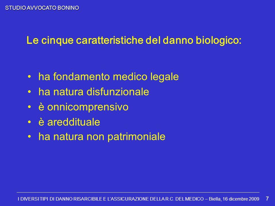 STUDIO AVVOCATO BONINO I DIVERSI TIPI DI DANNO RISARCIBILE E LASSICURAZIONE DELLA R.C. DEL MEDICO – Biella, 16 dicembre 2009 7 Le cinque caratteristic