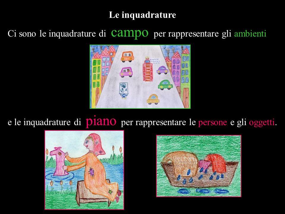 Le inquadrature Ci sono le inquadrature di campo per rappresentare gli ambienti e le inquadrature di piano per rappresentare le persone e gli oggetti.