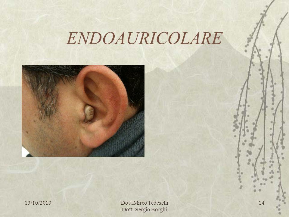 13/10/2010Dott.Mirco Tedeschi Dott. Sergio Borghi 14 ENDOAURICOLARE