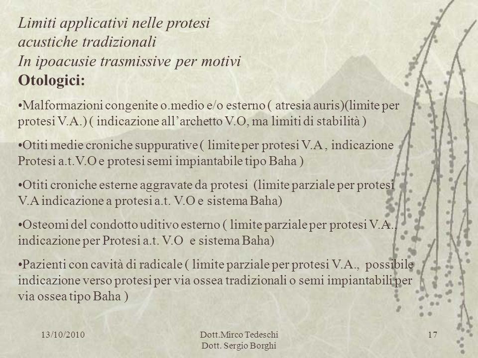13/10/2010Dott.Mirco Tedeschi Dott. Sergio Borghi 17 Otologici: Malformazioni congenite o.medio e/o esterno ( atresia auris)(limite per protesi V.A.)