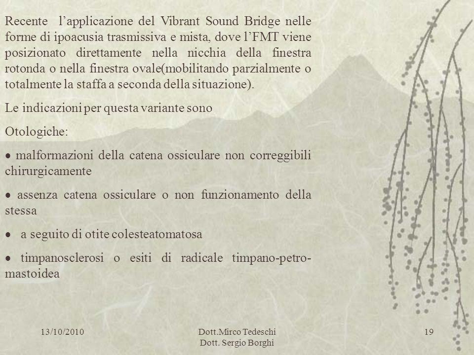 13/10/2010Dott.Mirco Tedeschi Dott. Sergio Borghi 19 Recente lapplicazione del Vibrant Sound Bridge nelle forme di ipoacusia trasmissiva e mista, dove