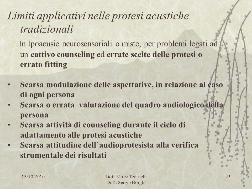 13/10/2010Dott.Mirco Tedeschi Dott. Sergio Borghi 25 Limiti applicativi nelle protesi acustiche tradizionali In Ipoacusie neurosensoriali o miste, per