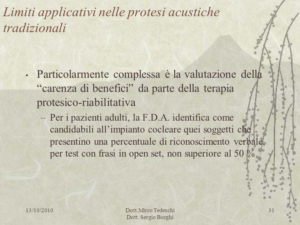 13/10/2010Dott.Mirco Tedeschi Dott. Sergio Borghi 31 Limiti applicativi nelle protesi acustiche tradizionali Particolarmente complessa è la valutazion
