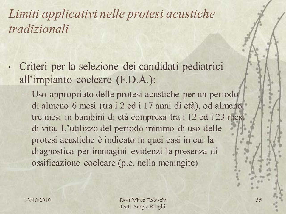 13/10/2010Dott.Mirco Tedeschi Dott. Sergio Borghi 36 Limiti applicativi nelle protesi acustiche tradizionali Criteri per la selezione dei candidati pe