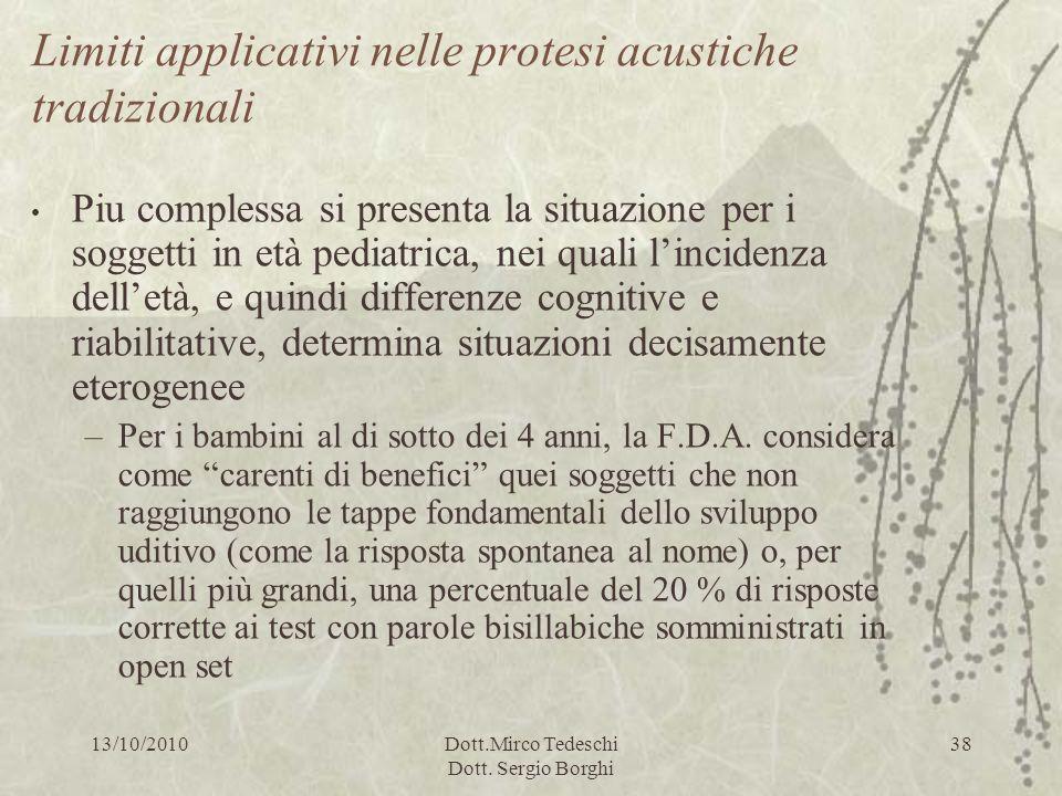 13/10/2010Dott.Mirco Tedeschi Dott. Sergio Borghi 38 Limiti applicativi nelle protesi acustiche tradizionali Piu complessa si presenta la situazione p