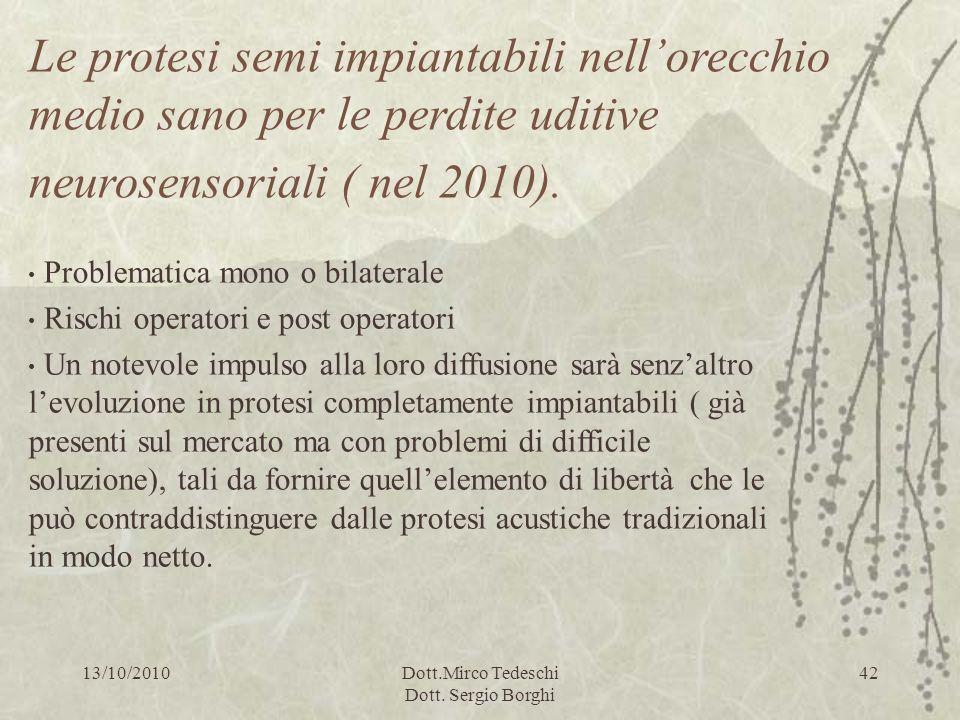 13/10/2010Dott.Mirco Tedeschi Dott. Sergio Borghi 42 Le protesi semi impiantabili nellorecchio medio sano per le perdite uditive neurosensoriali ( nel