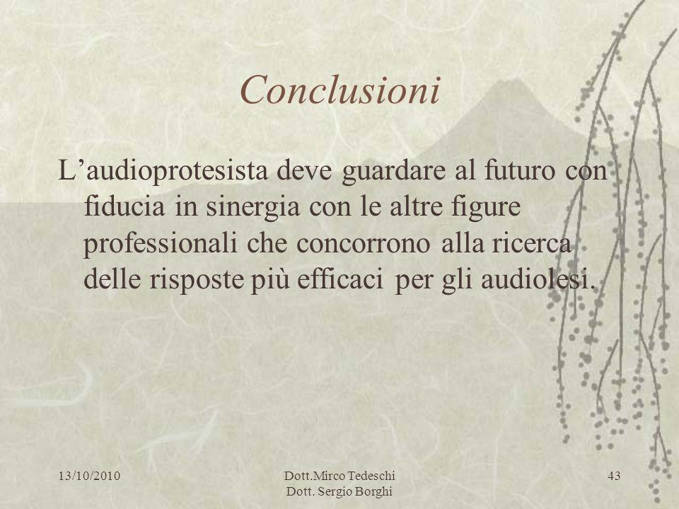 13/10/2010Dott.Mirco Tedeschi Dott. Sergio Borghi 43 Conclusioni Laudioprotesista deve guardare al futuro con fiducia in sinergia con le altre figure
