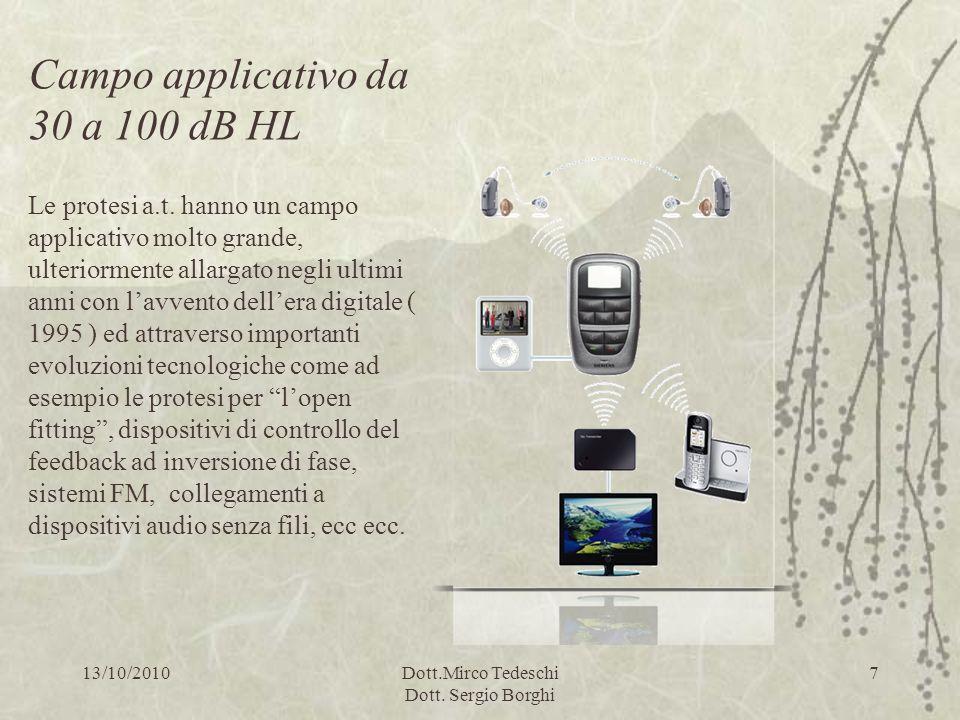 13/10/2010Dott.Mirco Tedeschi Dott. Sergio Borghi 7 Campo applicativo da 30 a 100 dB HL Le protesi a.t. hanno un campo applicativo molto grande, ulter