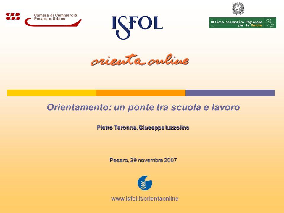 Orientamento: un ponte tra scuola e lavoro Pietro Taronna, Giuseppe Iuzzolino Pesaro, 29 novembre 2007 www.isfol.it/orientaonline