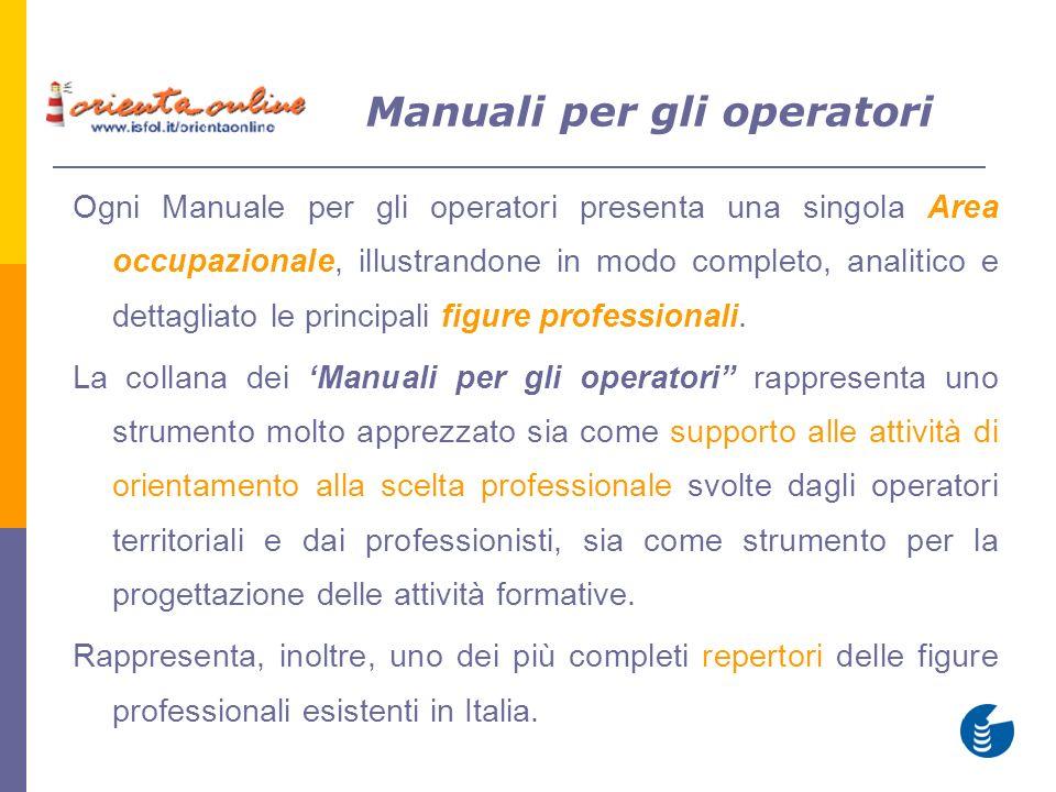 Manuali per gli operatori Ogni Manuale per gli operatori presenta una singola Area occupazionale, illustrandone in modo completo, analitico e dettagliato le principali figure professionali.