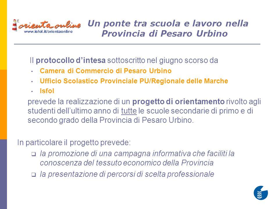 Il protocollo dintesa sottoscritto nel giugno scorso da Camera di Commercio di Pesaro Urbino Ufficio Scolastico Provinciale PU/Regionale delle Marche