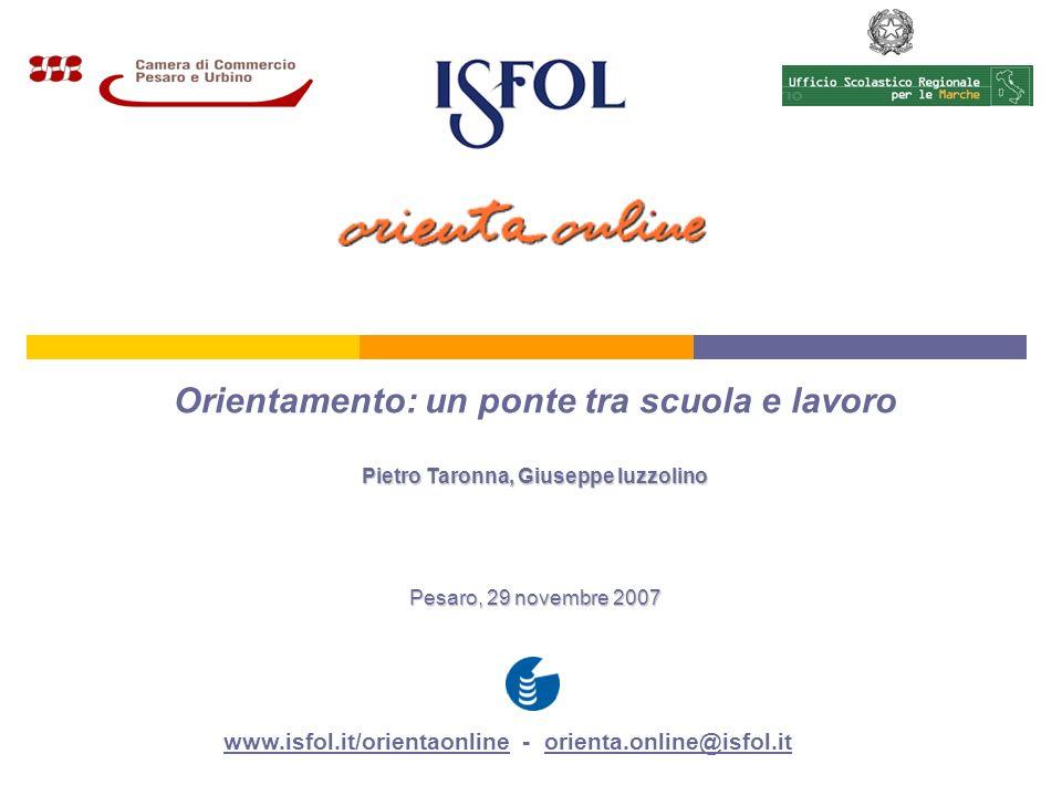 Orientamento: un ponte tra scuola e lavoro Pietro Taronna, Giuseppe Iuzzolino Pesaro, 29 novembre 2007 www.isfol.it/orientaonlinewww.isfol.it/orientaonline - orienta.online@isfol.it