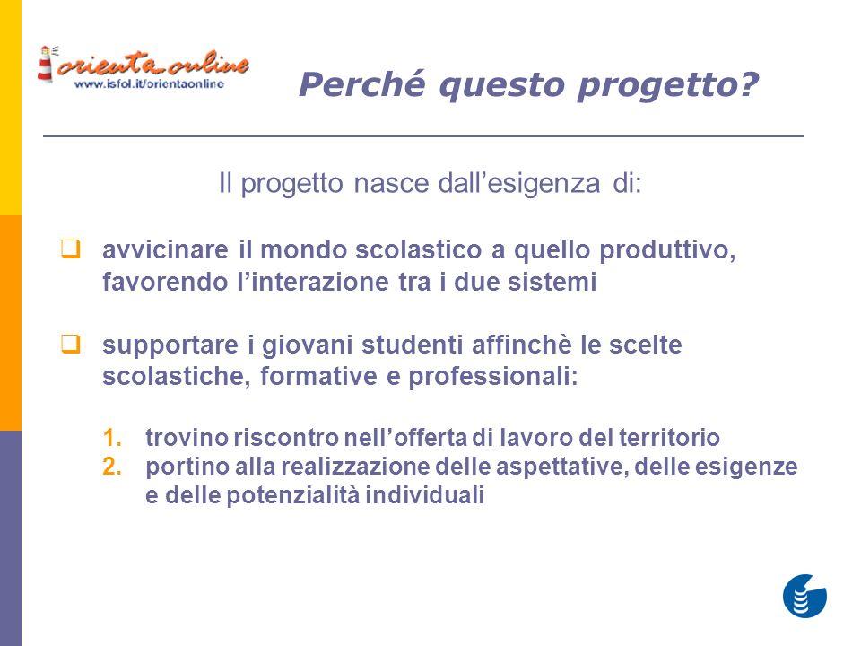 Il progetto nasce dallesigenza di: avvicinare il mondo scolastico a quello produttivo, favorendo linterazione tra i due sistemi supportare i giovani s