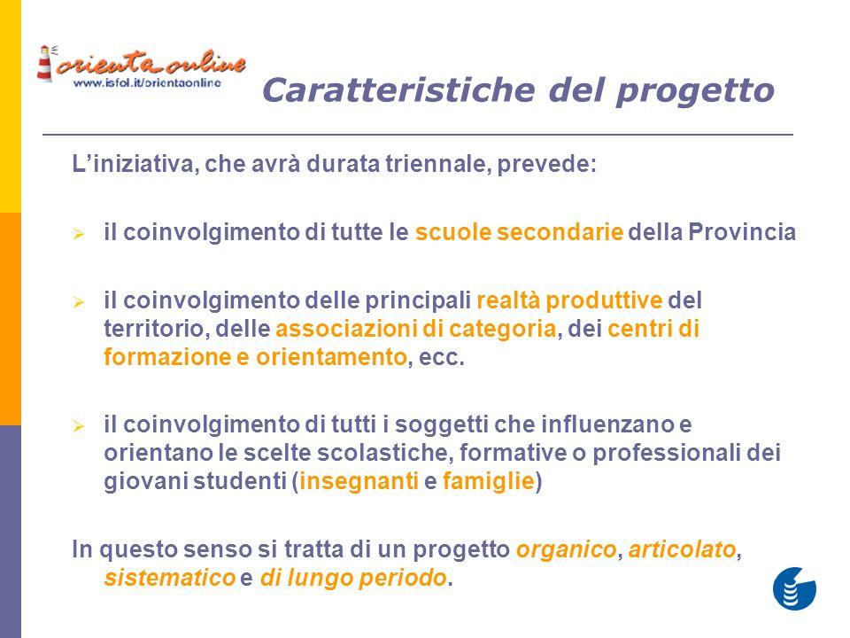 Caratteristiche del progetto Liniziativa, che avrà durata triennale, prevede: il coinvolgimento di tutte le scuole secondarie della Provincia il coinv