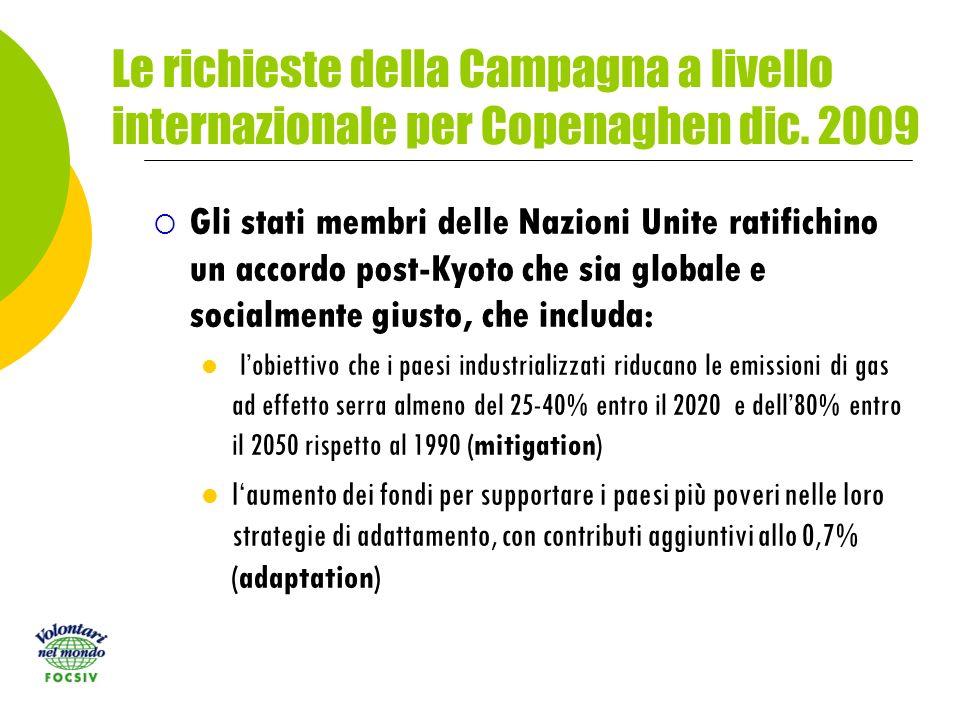 Le richieste della Campagna a livello internazionale per Copenaghen dic.