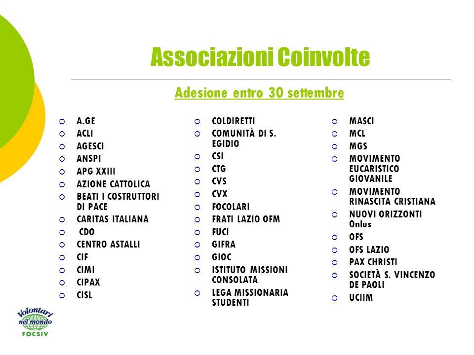 Associazioni Coinvolte A.GE ACLI AGESCI ANSPI APG XXIII AZIONE CATTOLICA BEATI I COSTRUTTORI DI PACE CARITAS ITALIANA CDO CENTRO ASTALLI CIF CIMI CIPAX CISL COLDIRETTI COMUNITÀ DI S.