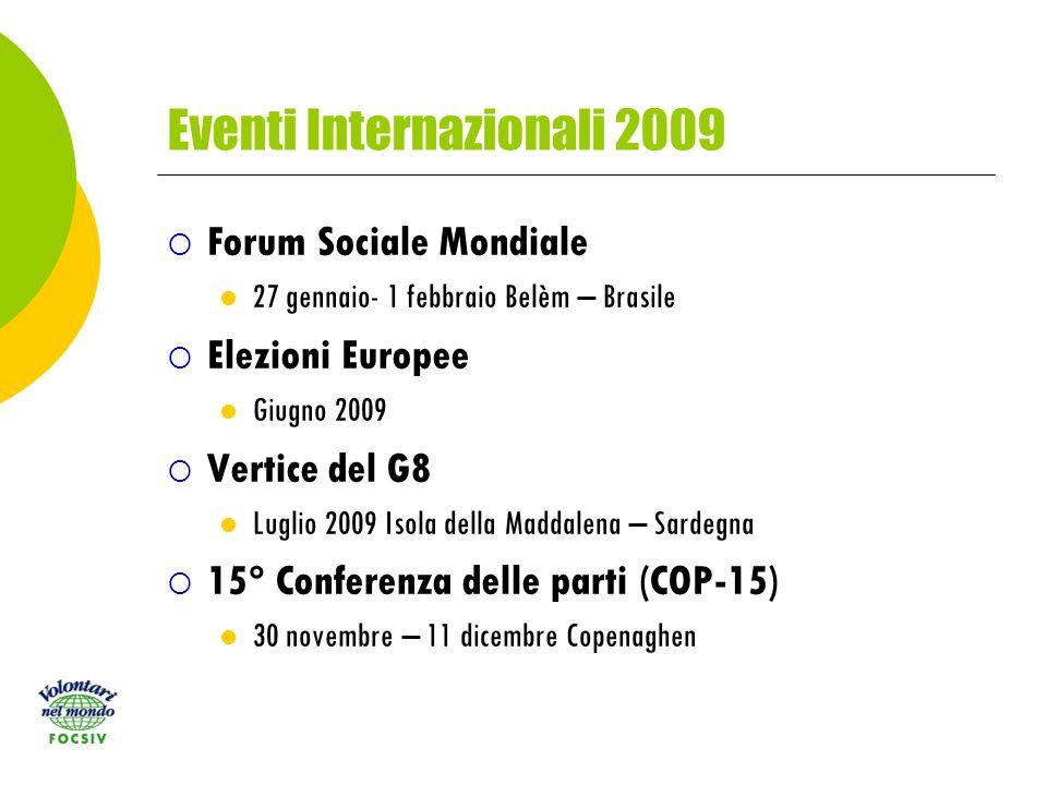 Eventi Internazionali 2009 Forum Sociale Mondiale 27 gennaio- 1 febbraio Belèm – Brasile Elezioni Europee Giugno 2009 Vertice del G8 Luglio 2009 Isola della Maddalena – Sardegna 15° Conferenza delle parti (COP-15) 30 novembre – 11 dicembre Copenaghen