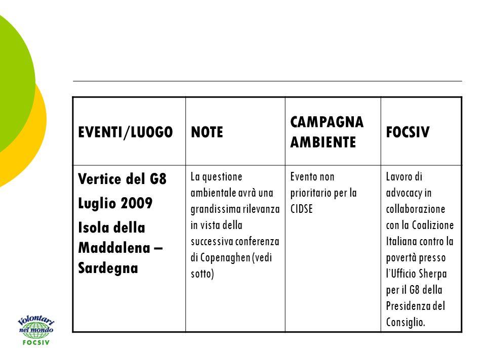 EVENTI/LUOGONOTE CAMPAGNA AMBIENTE FOCSIV Vertice del G8 Luglio 2009 Isola della Maddalena – Sardegna La questione ambientale avrà una grandissima rilevanza in vista della successiva conferenza di Copenaghen (vedi sotto) Evento non prioritario per la CIDSE Lavoro di advocacy in collaborazione con la Coalizione Italiana contro la povertà presso lUfficio Sherpa per il G8 della Presidenza del Consiglio.