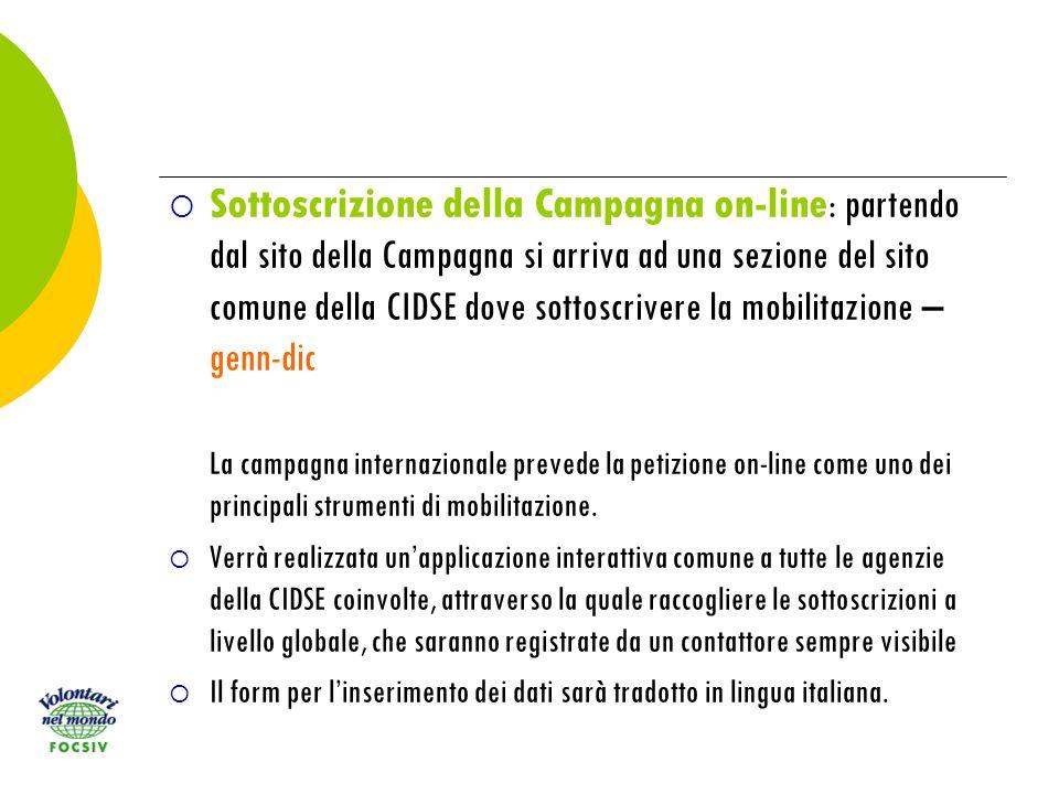 Sottoscrizione della Campagna on-line : partendo dal sito della Campagna si arriva ad una sezione del sito comune della CIDSE dove sottoscrivere la mobilitazione – genn-dic La campagna internazionale prevede la petizione on-line come uno dei principali strumenti di mobilitazione.
