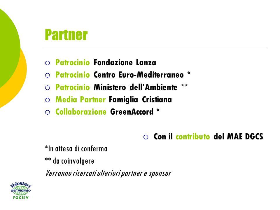 Partner Patrocinio Fondazione Lanza Patrocinio Centro Euro-Mediterraneo * Patrocinio Ministero dellAmbiente ** Media Partner Famiglia Cristiana Collaborazione GreenAccord * Con il contributo del MAE DGCS *In attesa di conferma ** da coinvolgere Verranno ricercati ulteriori partner e sponsor