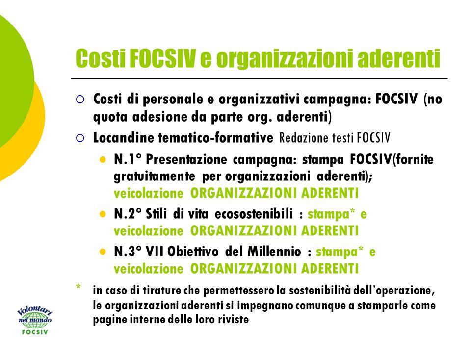 Costi FOCSIV e organizzazioni aderenti Costi di personale e organizzativi campagna: FOCSIV (no quota adesione da parte org.