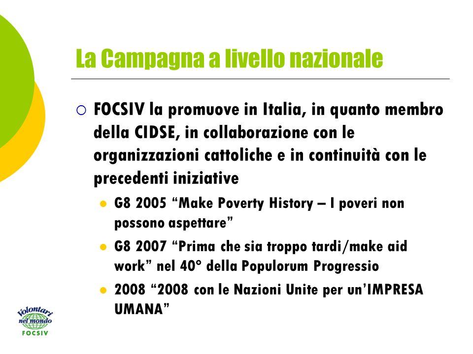 La Campagna a livello nazionale FOCSIV la promuove in Italia, in quanto membro della CIDSE, in collaborazione con le organizzazioni cattoliche e in continuità con le precedenti iniziative G8 2005 Make Poverty History – I poveri non possono aspettare G8 2007 Prima che sia troppo tardi/make aid work nel 40° della Populorum Progressio 2008 2008 con le Nazioni Unite per unIMPRESA UMANA
