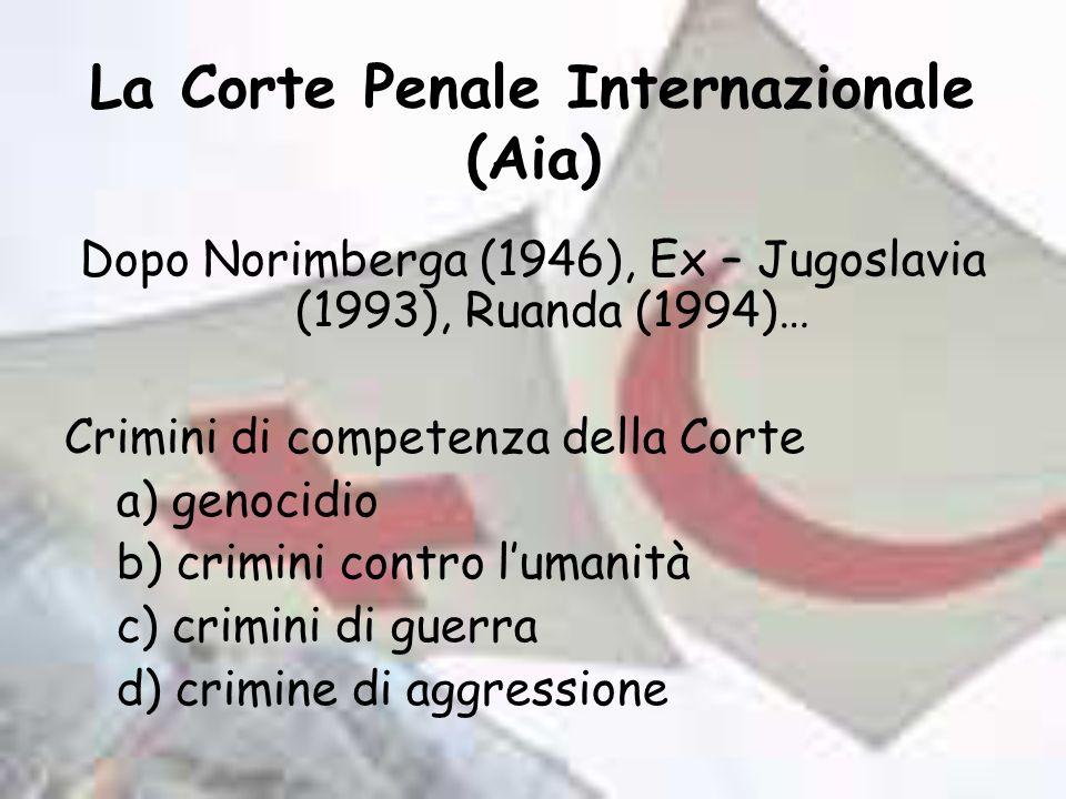 La Corte Penale Internazionale (Aia) Dopo Norimberga (1946), Ex – Jugoslavia (1993), Ruanda (1994)… Crimini di competenza della Corte a) genocidio b) crimini contro lumanità c) crimini di guerra d) crimine di aggressione