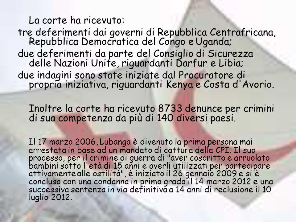 La corte ha ricevuto: tre deferimenti dai governi di Repubblica Centrafricana, Repubblica Democratica del Congo eUganda; due deferimenti da parte del