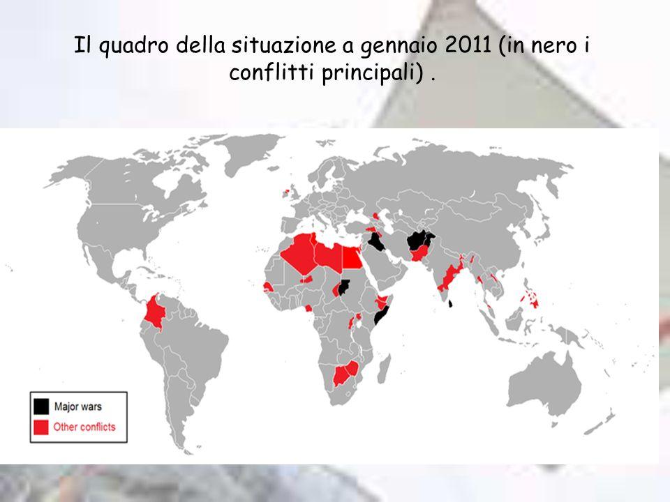 Il quadro della situazione a gennaio 2011 (in nero i conflitti principali).