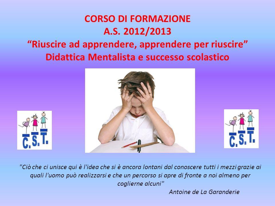 CORSO DI FORMAZIONE A.S. 2012/2013 Riuscire ad apprendere, apprendere per riuscire Didattica Mentalista e successo scolastico