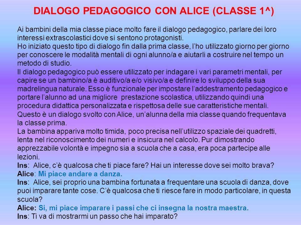 DIALOGO PEDAGOGICO CON ALICE (CLASSE 1^) Ai bambini della mia classe piace molto fare il dialogo pedagogico, parlare dei loro interessi extrascolastic