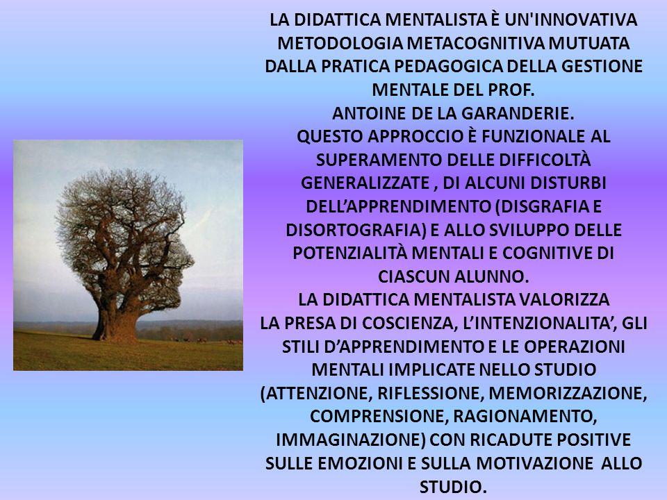 LA DIDATTICA MENTALISTA È UN'INNOVATIVA METODOLOGIA METACOGNITIVA MUTUATA DALLA PRATICA PEDAGOGICA DELLA GESTIONE MENTALE DEL PROF. ANTOINE DE LA GARA