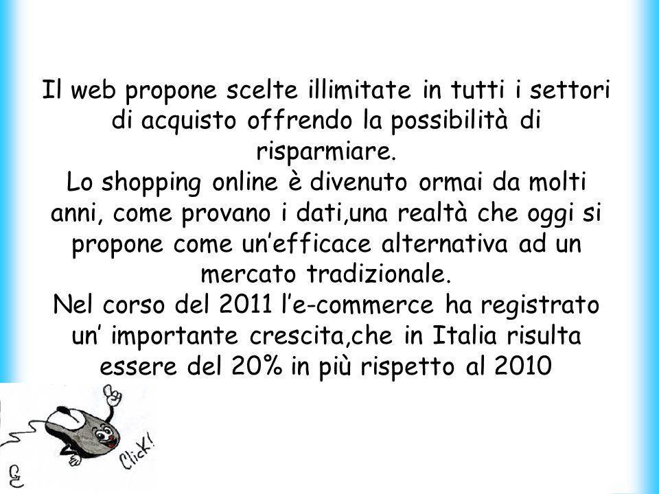 Il web propone scelte illimitate in tutti i settori di acquisto offrendo la possibilità di risparmiare.