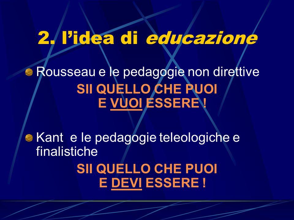 2.lidea di educazione Rousseau e le pedagogie non direttive SII QUELLO CHE PUOI E VUOI ESSERE .