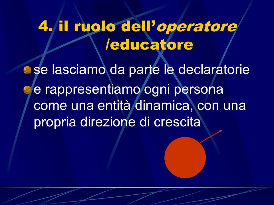 4. il ruolo delloperatore /educatore se lasciamo da parte le declaratorie e rappresentiamo ogni persona come una entità dinamica, con una propria dire