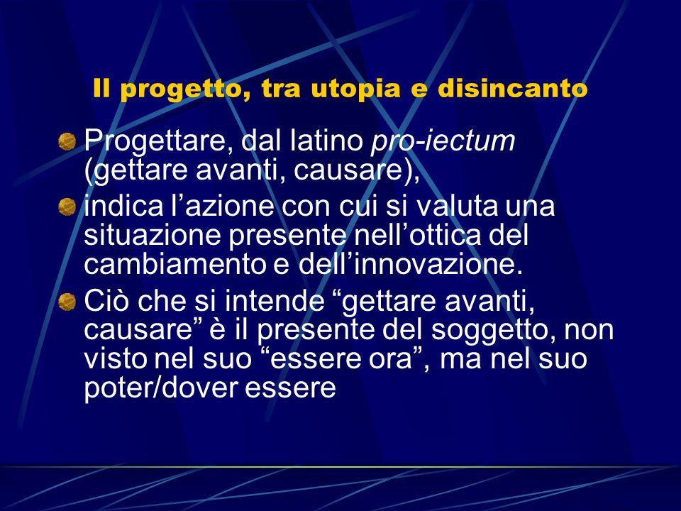 Il progetto, tra utopia e disincanto Progettare, dal latino pro-iectum (gettare avanti, causare), indica lazione con cui si valuta una situazione presente nellottica del cambiamento e dellinnovazione.