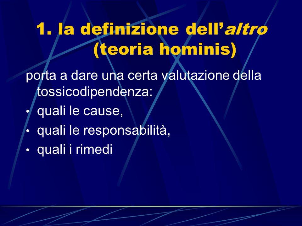 1. la definizione dellaltro (teoria hominis) porta a dare una certa valutazione della tossicodipendenza: quali le cause, quali le responsabilità, qual