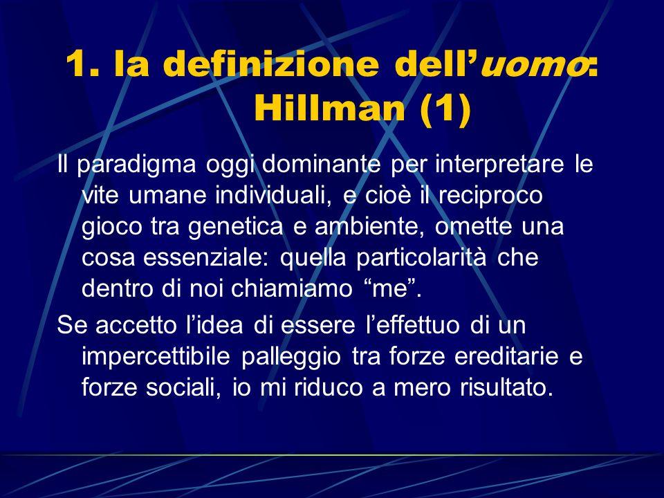 1. la definizione delluomo: Hillman (1) Il paradigma oggi dominante per interpretare le vite umane individuali, e cioè il reciproco gioco tra genetica