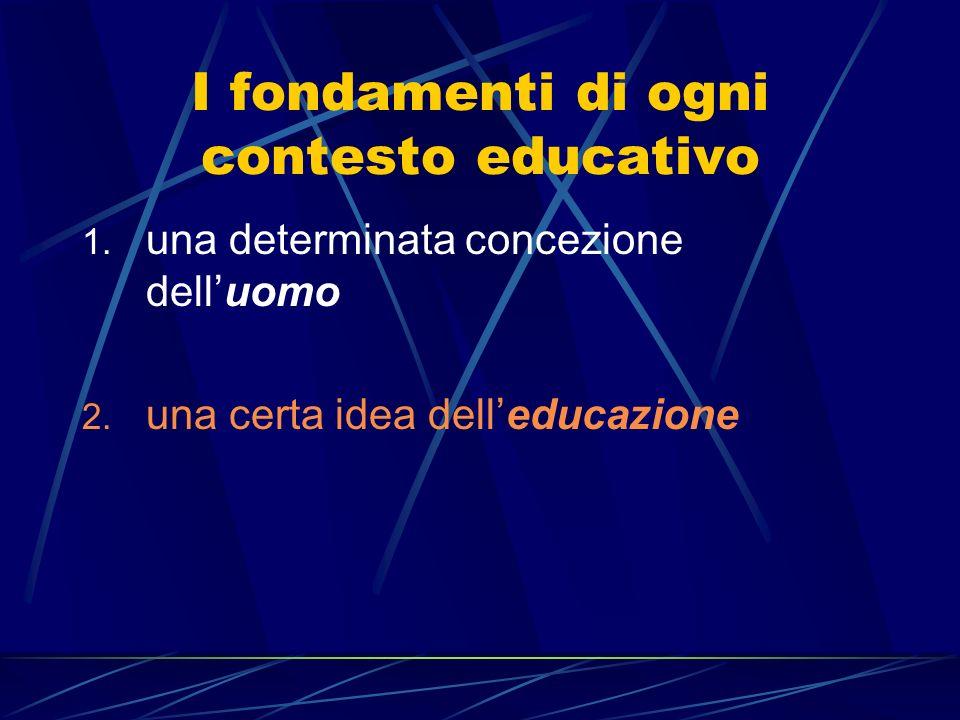 I fondamenti di ogni contesto educativo 1.una determinata concezione delluomo 2.
