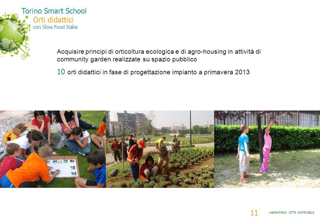 11 LABORATORIO CITTÀ SOSTENIBILE Torino Smart School Orti didattici con Slow Food Italia Acquisire principi di orticoltura ecologica e di agro-housing