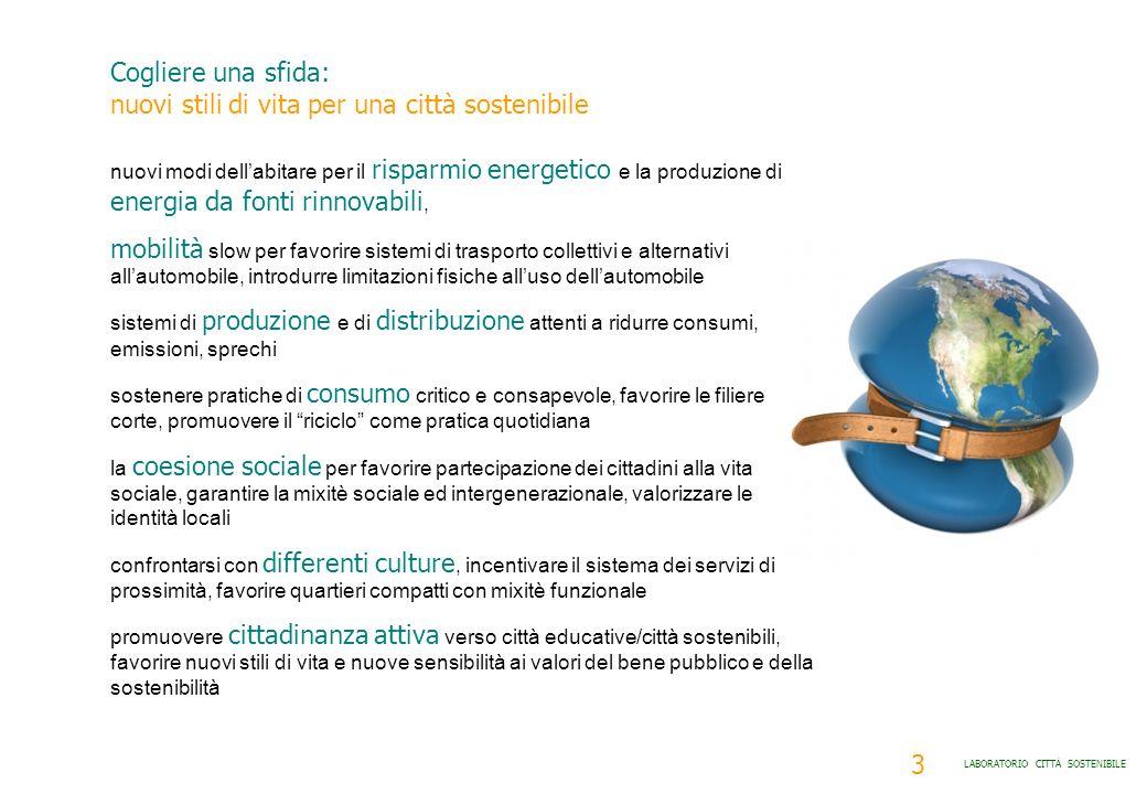 3 LABORATORIO CITTÀ SOSTENIBILE nuovi modi dellabitare per il risparmio energetico e la produzione di energia da fonti rinnovabili, mobilità slow per
