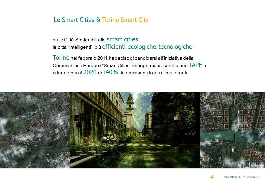4 LABORATORIO CITTÀ SOSTENIBILE dalle Città Sostenibili alle smart cities le città intelligenti, più efficienti, ecologiche, tecnologiche Torino nel f