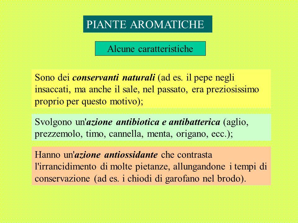 Svolgono un azione antibiotica e antibatterica (aglio, prezzemolo, timo, cannella, menta, origano, ecc.); Alcune caratteristiche PIANTE AROMATICHE Sono dei conservanti naturali (ad es.