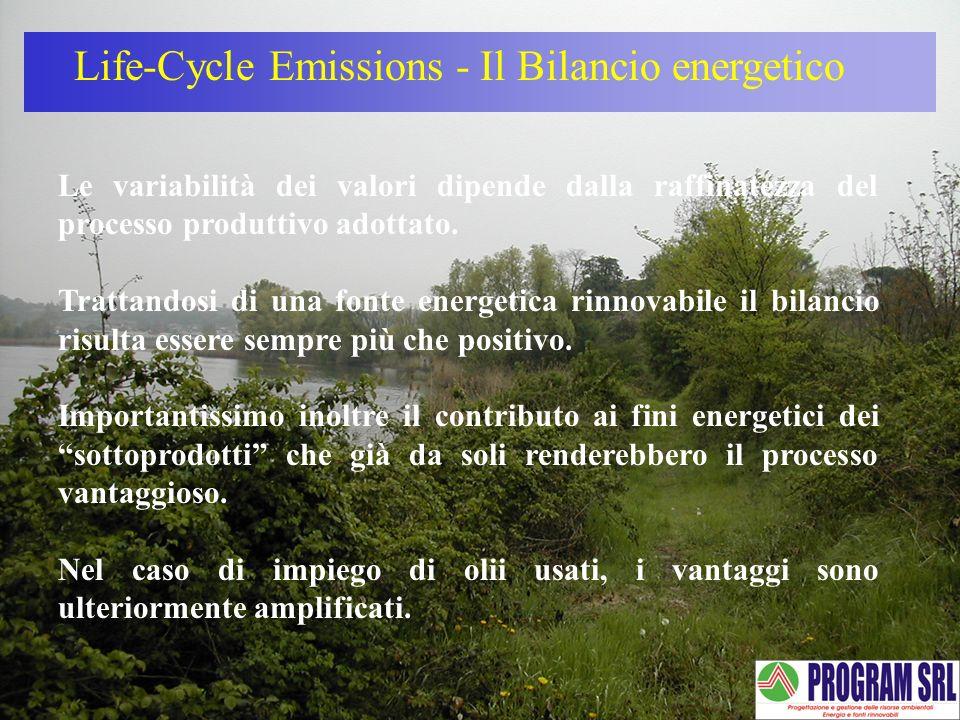 Life-Cycle Emissions - Il Bilancio energetico Le variabilità dei valori dipende dalla raffinatezza del processo produttivo adottato. Trattandosi di un